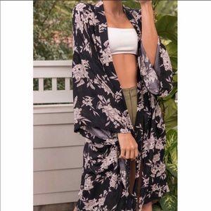 Spiritual Gangster Maya Black floral kimono robe